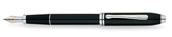 Pluma estilográfica Cross Townsend Laca Negra con detalles bañados en Rodio