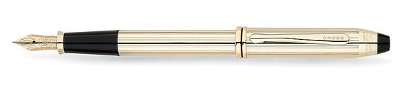 Pluma estilográfica Cross Townsend laminada en oro de 10K con detalles bañados en oro de 23K y plumín en oro macizo de 18K