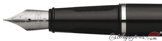 Plumín de pluma estilográfica Prelude laca negra brillante y detalles en níquel de Sheaffer
