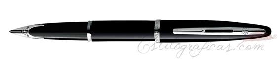 Pluma estilográfica Waterman Carène Laca Negra ST (Silver Trim)