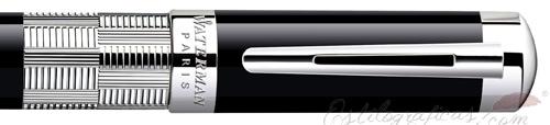 Anillo de estilográfica Waterman Élégance Negra ST Adornos Plateados