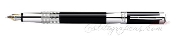 Plumas estilográficas Waterman Élégance Negra ST adornos plateados