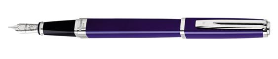 Plumas estilográficas Waterman Exception Slim azul ST con adornos plateados