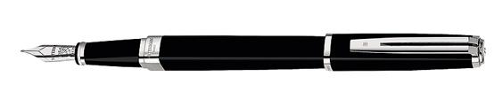 Plumas estilográficas Waterman Exception Slim Negro ST adornos plateados