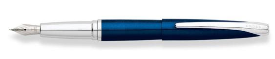 Plumas estilográficas Cross ATX realizada en laca translúcida azul con detalles en cromo