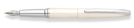 Plumas estilográficas Cross ATX Blanco Perla con detalles en cromo