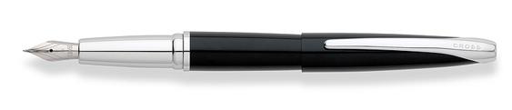 Plumas estilográficas Cross ATX enlacadas en negro con detalles en cromo