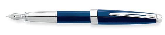 Plumas estilográficas Cross Aventura realizada en resina azul con detalles en cromo