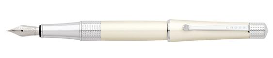Plumas estilográficas Cross Beverly enlacadas en blanco marfil y detalles en cromo perforados