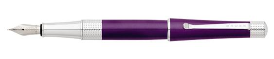 Plumas estilográficas Cross Beverly enlacadas en púrpura y detalles en cromo perforados