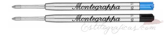 Recarga de bolígrafos Montegrappa, recambios azul y negro IA00BMUC