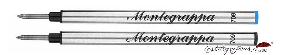 Recarga de rollerball Montegrappa estándar, recambios azul y negro IA00RLTC