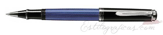 Rollerball Pelikan Souverän R 405 Azul y Negro con adornos Plateados 932988
