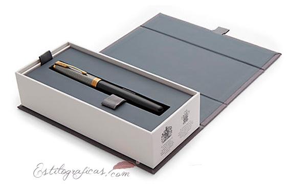Caja Roller Parker Sonnet Plata y Negro Cincelado GT