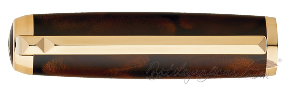 Capuchón del rollerball ST Dupont Line D Atelier Medium Size Brown Chinese Lacquer and Gold
