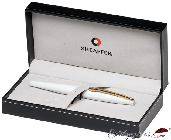 Estuche de plumas estilográficas Sheaffer Taranis blanco y oro