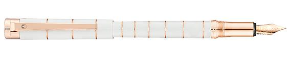Estilográfica Waldmann Pantera Lacado Blanco y Oro Rosa 0064