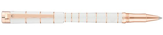 Rollerball Waldmann Pantera Lacado Blanco Brillante y Oro Rosa 0065